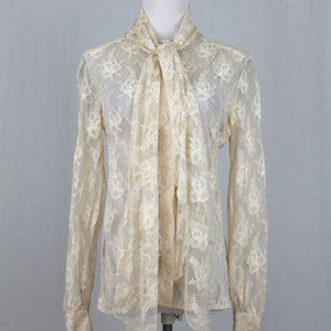 Vintage Gary Frederic Cream Lace Pussybow Blouse